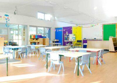 Prep classroom for pre-school children with central service facility